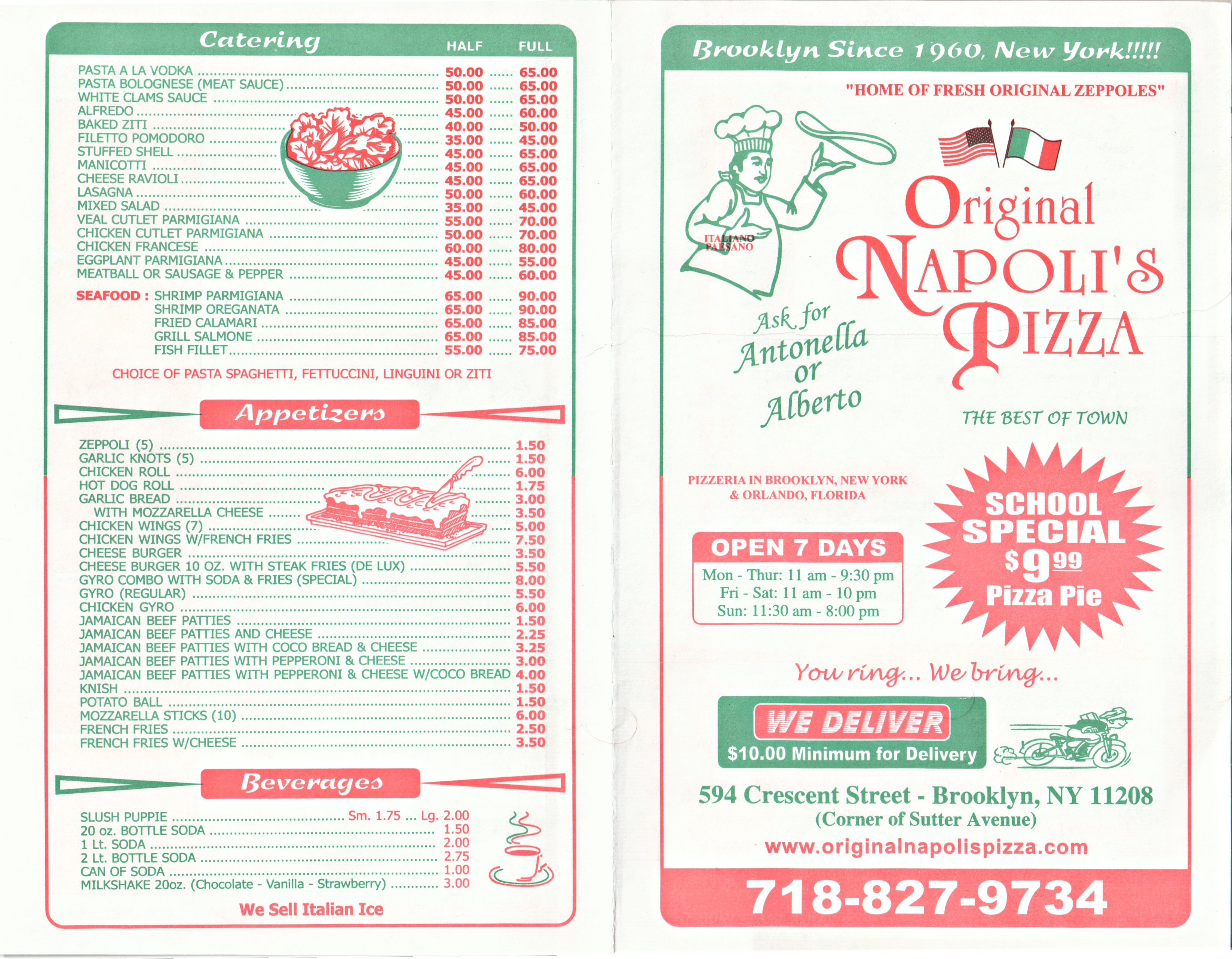 Menu Original Napoli S Pizza